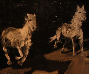 3 White Horses in a Line by Stephen Winters